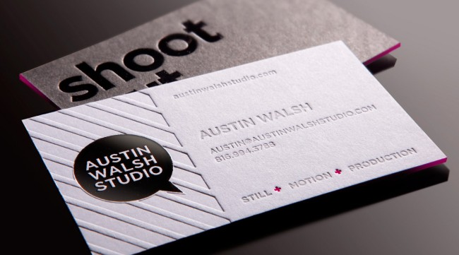 business card with blind emboss